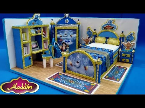 منزل مصغر بالكرتون وورق الفوم 3 غرفه نوم علاء الدين والجني Diy Miniature Dollhous For Aladdin Youtube Toddler Bed Bed Home