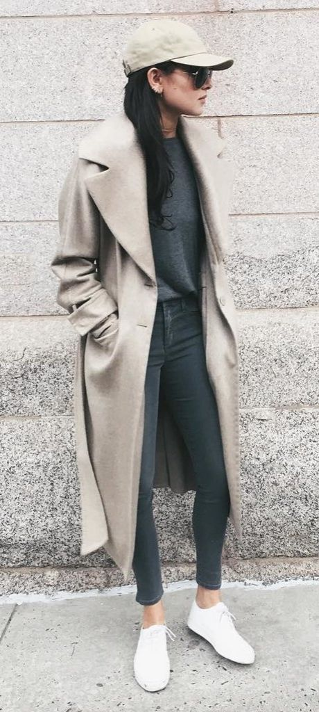 Duster Coat With a Groutfit, Sneakers, and a Cap:
