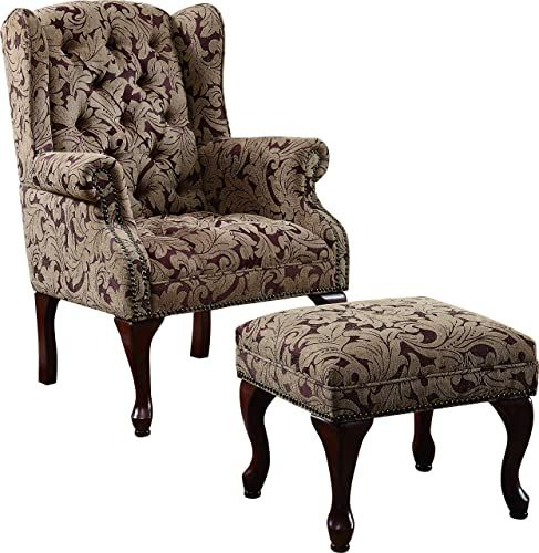 New Tufted Wing Back Chair Ottoman Brown Online Melyssanicefashion In 2020 Chair And Ottoman Set Tufted Wing Chair Chair And Ottoman