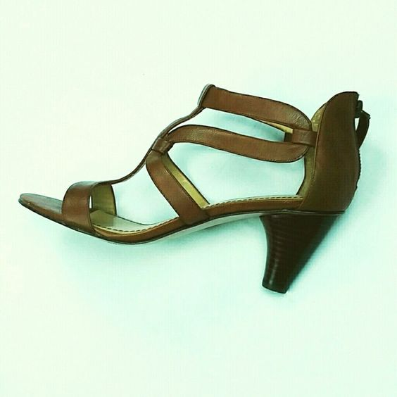 Nine West strappy heel Leather camel colored heel by Nine West. Size 8, can fit up to size 9 Nine West Shoes Heels