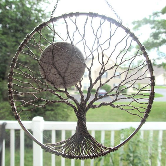 Calming tree wire tree of life wall hanging sun catcher for How to make a wire tree of life sculpture