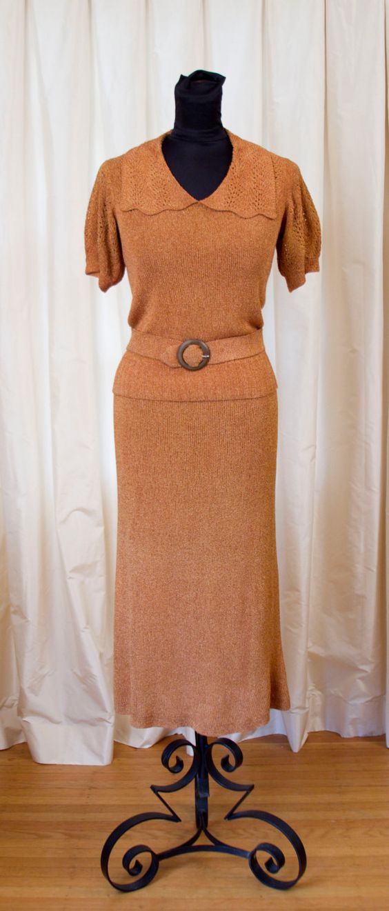 1930's Sweater Set // Copper Handknit Sweater and by GarbOhVintage