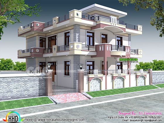 Highly Decorative 47x47 North Indian Home House Outer Design Small House Elevation Design Bungalow House Design House design north indian style