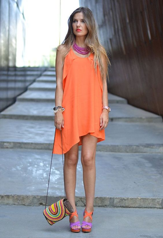 Street Style Combinations For Trendy Summer on FashionLook App! Check it now! #dress #orange #bag #summer #purple #sandals #necklace #colorful #outfit #style #fashion #look #FashionLook
