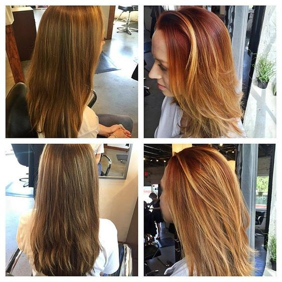 Before and after! Red headed ombre by Jessica on @nat_frog. Book today at www.thecherryblossomsalon.com or 404-856-0533