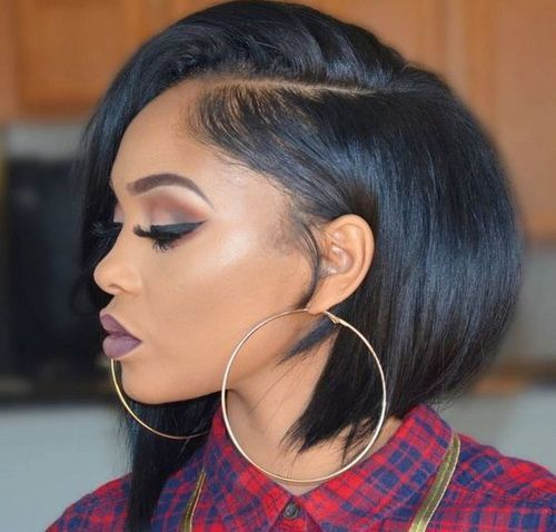 30 Popular Hairstyles for Black Women | Angled Bob | Hairstyle on Point