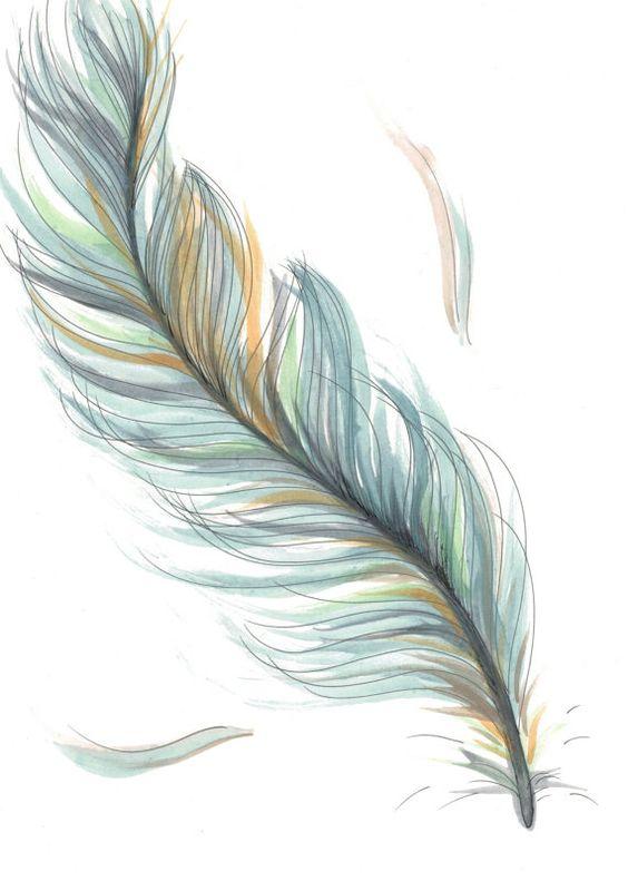 Original Drawing/Illustration - Blue Feather