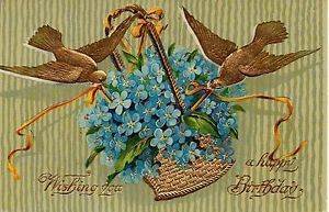 Two Gold Foil Birds with Gold Basket of Blue Flowers Vintage Postcard in Collectibles, Postcards, Animals