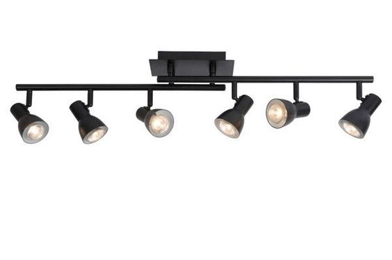 d tails sur 6 spots sur rail m tal noir plafonnier lampe suspension lustre luminaire 50561. Black Bedroom Furniture Sets. Home Design Ideas