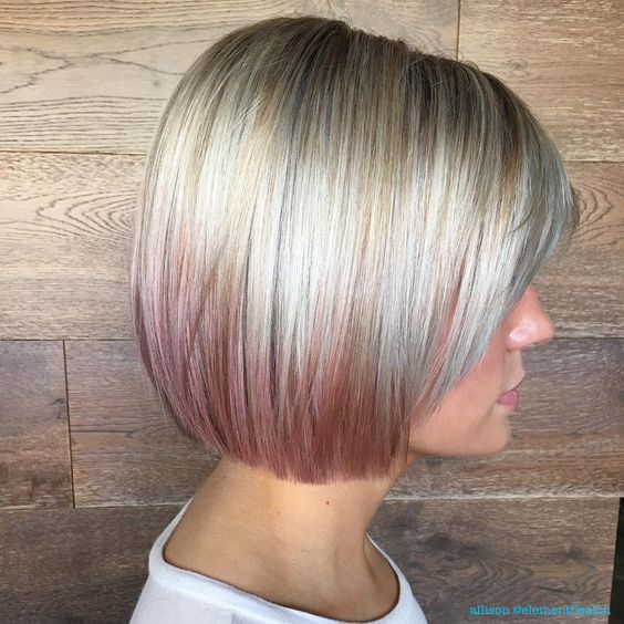 short blunt platinum blonde bob with rose gold balayage ombre