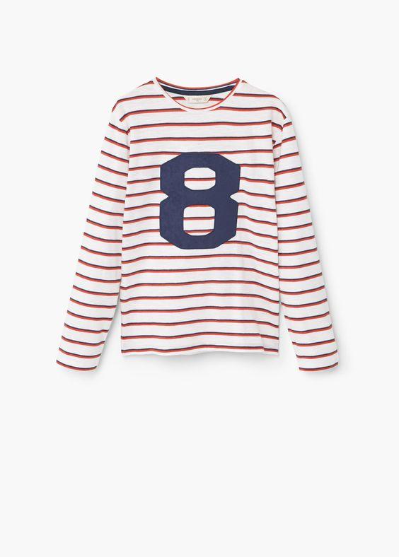 Gestreept katoenen t-shirt -  Kinderen | MANGO Kids Nederland