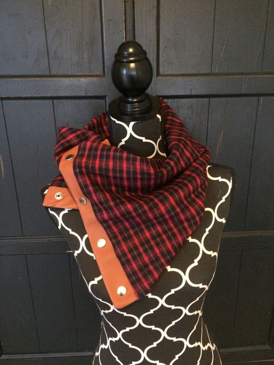 Red and Black Plaid with Leather Snap Cowl by KutKloth on Etsy