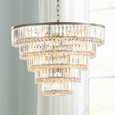 Magnificence Satin Nickel 24 1 2 Wide Crystal Chandelier 1d961