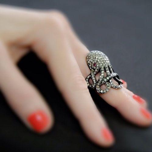 Fancy - 20,000 Leagues Octopus Diamond Ring by Plukka