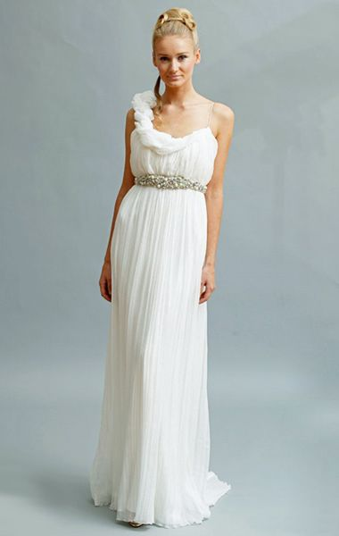 One shoulder wedding dress hairstyles and the o 39 jays on for Greek goddess style wedding dresses