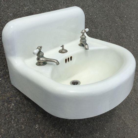 Old Vtg Antique White Porcelain Enamel Standard Sanitary Mfg Co Bathroom Sink   eBay