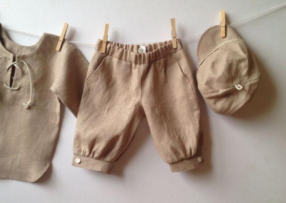 Boys linen shorts beige, knocher style pants, toddler linen shorts natural, linen ...