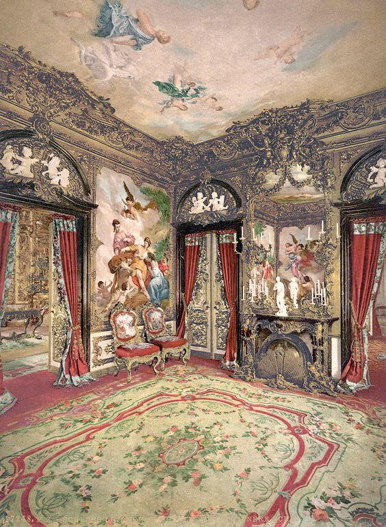 Schloss Linderhof, tapeçarias do Gobelin, por volta de 1900 Fonte: Biblioteca do Congresso