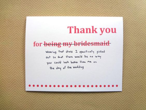 Wedding Gift Message Note: Funny Thank You Card For Bridesmaid, Wedding Thank You