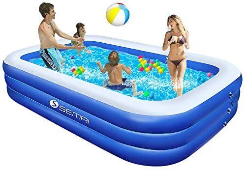 Semai Family Inflatable Swimming Pool 118 X72 X20 Full Sized Inflatable Lounge Pool F Inflatable Swimming Pool Inflatable Lounge Pool Pool Lounge