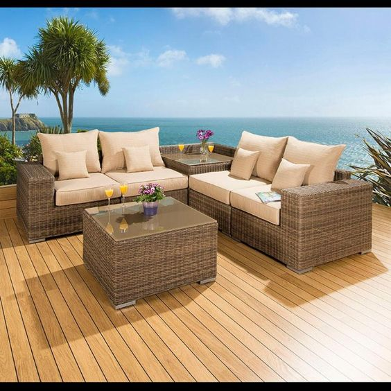 Luxury outdoor garden 6 Piece sofa set/sofa mocha rattan/beige cushions 42. Truly stunning in design, this large L shape sofa gives a super high-class feel. This set consists of left and right hand end pieces, 2 middle sofa pieces, square glass topped coffee table, corner coffee table, clips to hold the pieces together, 4 x scatter cushions and heavy-duty covers in green. Call 02476 642139 or email sales@quatropi.com or visit www.quatropi.com for additional information.