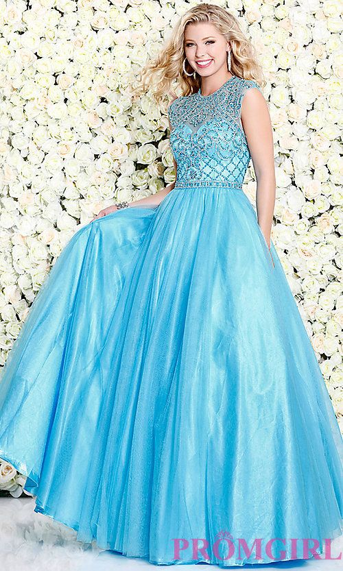 A-Line Tulle High Neck Long Prom Dress