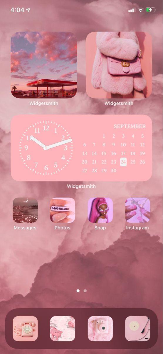 Ios 14 Update Home Screen Aesthetic Pink Iphone Design Homescreen Pink Iphone