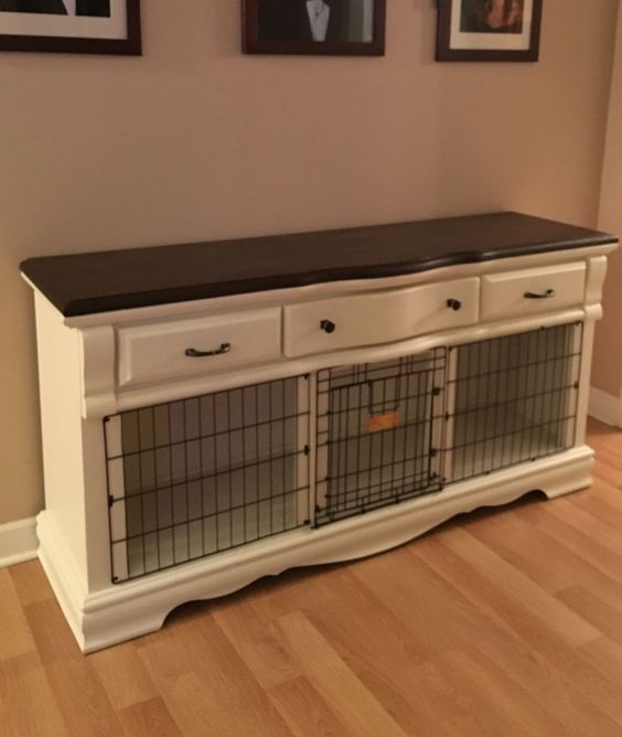 ... DIY Dog Crate End Table as well Wooden Dog Kennel Furniture. on dog