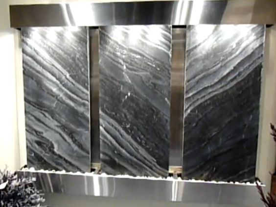 Large Sized Modern Slate and Copper Indoor Wall Fountain