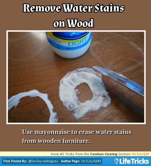 Furniture Cleaning Remove Water Stains On Wood Diy Furniture Pinterest Stains Water
