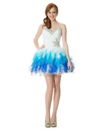 Unique poofy short strapless corset blue and white prom dress ...