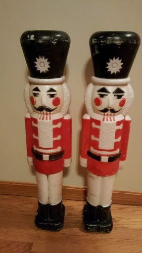 """Pair of Vintage Union Christmas 30"""" Blow Mold Nut Cracker - Toy Soldier - 7642"""
