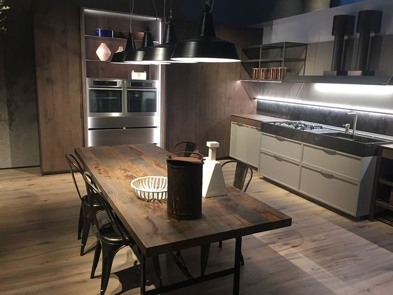 Kitchens seen at Salone del Mobile 2016 in Milan. Rustic modern kitchen and dining space by Ernestomeda
