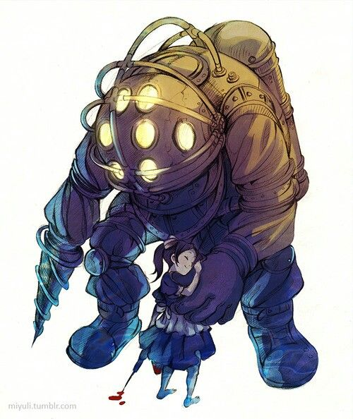 The picture is very well done. A tattoo of it would be something. Bioshock - Big Daddy and a Little Sister