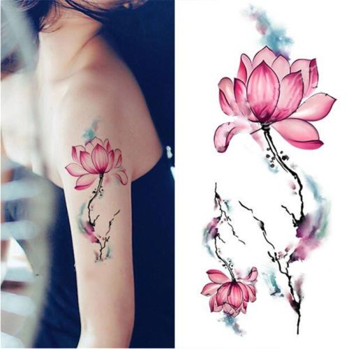 Fashion Removable Waterproof Temporary Watercolor Lotus Arm Body Tattoo Stickers Neck Tattoo Tattoos Fake Tattoos