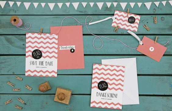 Herzlichst - Schönes auf Papier | Hochzeitskarten Chevron