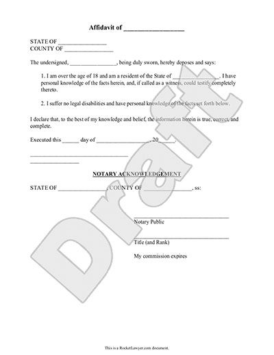 Sample Affidavit Form Template This \ That Pinterest - affadavit form
