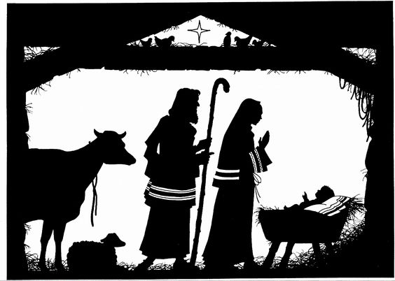 Nativity silhouette away in a manger and stars in the sky on