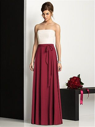 Ivory and Burgundy (to match our colors :)  After Six Bridesmaids Style 6677 http://www.dessy.com/dresses/bridesmaid/6677/