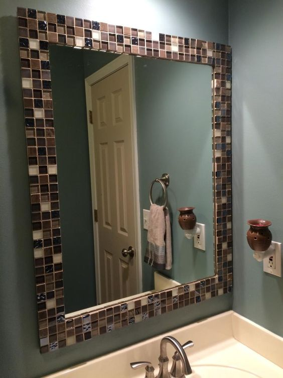 A to z with a little j mirror makeover for the home pinterest the old mosaics and tile for Pinterest framed bathroom mirrors