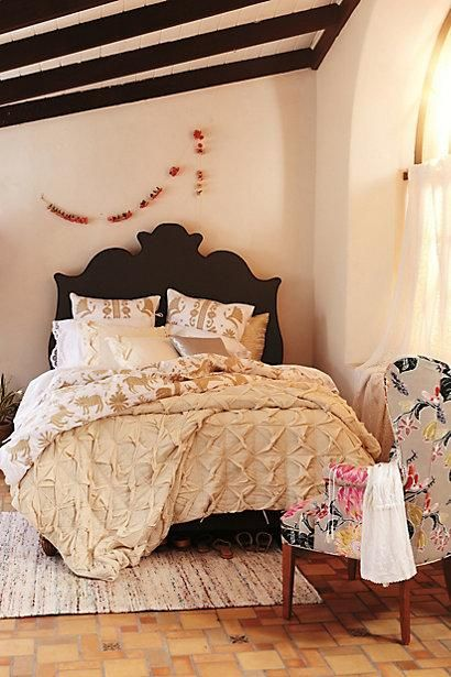Luisa embroidered duvet mattress window treatments and wooden beds - Bedspreads for platform beds ...