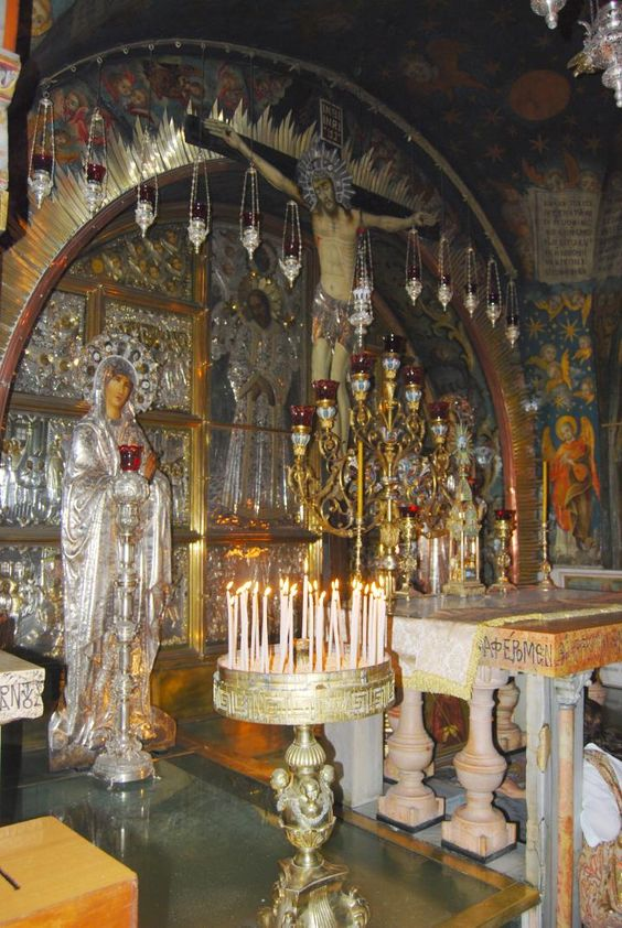 Church of the Holy Sepulchre (Jerusalem, Israel) on the traditional site of Golgotha (the place of the skull) - the place of Jesus' Crucifixion and Burial