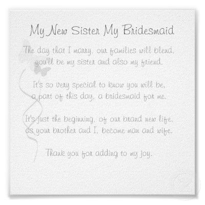 letter to sister on wedding day bridesmaid poems be my bridesmaid and poem on 23260
