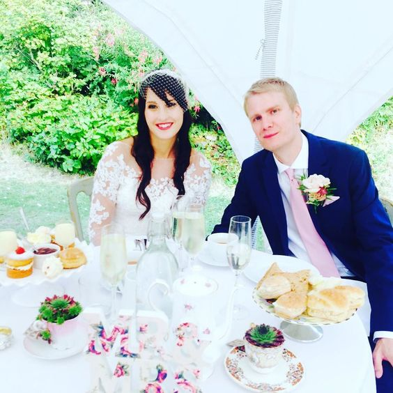 Scrumptious Afternoon tea in the Old Rectory garden to celebrate Louise and Simons marriage with us today. #eastsussexwedding #eastsussex #vegan #foodporn #foodie #afternoontea #wedding #married #hastings