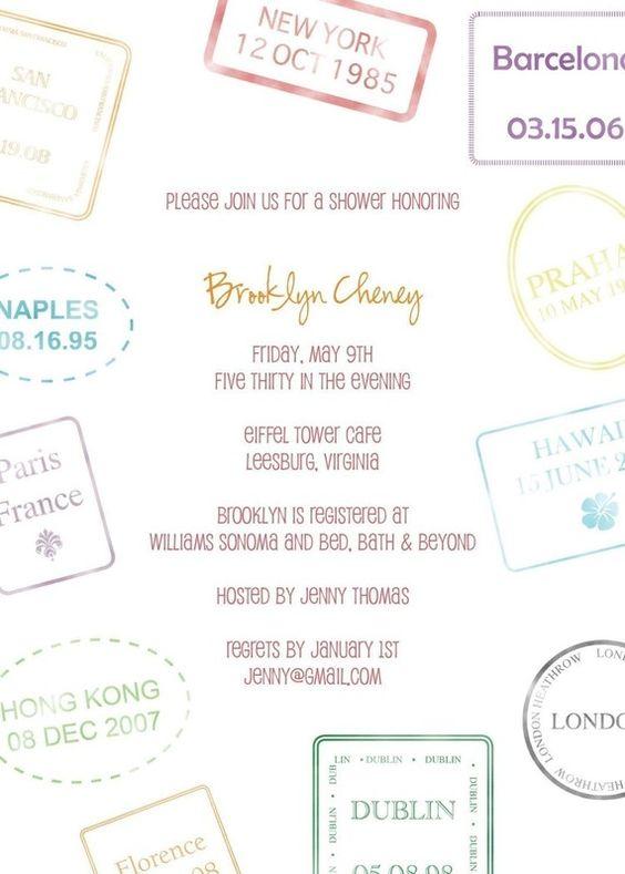 Passport Stamp Bridal Shower Invitation  Perfect by sugarhouseink, $15.00