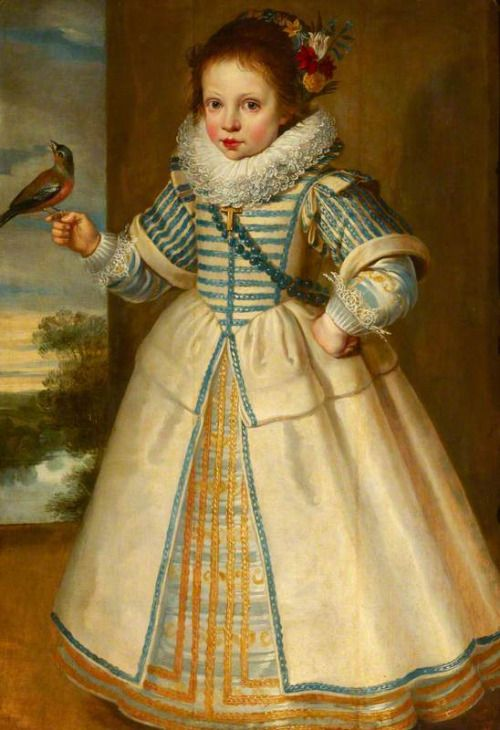 17th century Cornelis de Vos (attr.) - Portrait of a Young Girl Holding a Bullfinch