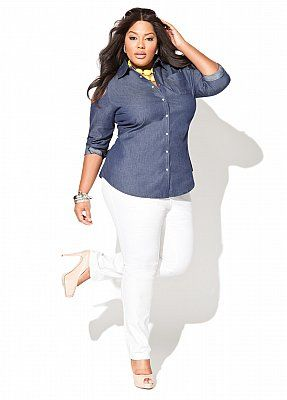 Have white pants and similar denim shirt. Never thought to put ...