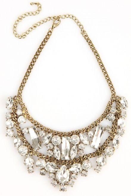 MINUSEY - Antiqued Crystal Bib Necklace $38