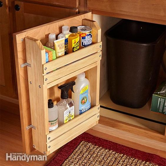 here's a simple projectto bring order tothe chaos: a door-mountedstorage rack.you can modify thisbasic idea to organizeother cabinets too.
