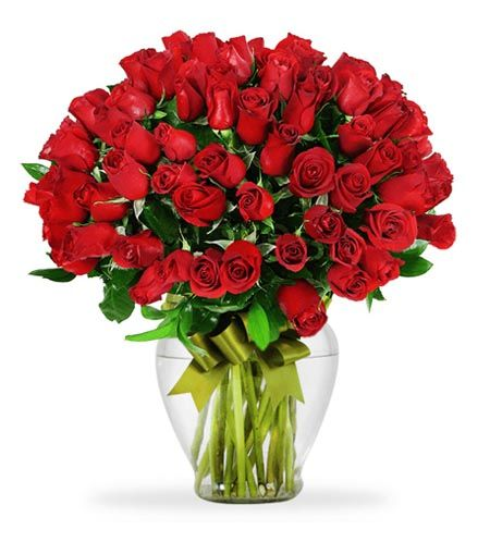 Florero de 75 rosas rojas